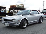 1971 KGC10 Vintage Nissan Skyline GT-X base GT-R style Modified : L28 6cyl, Solex Carburator, Exhaust headers, Race Dual Exhaust , Watanabe 8spoke rims, Flare fender, etc.